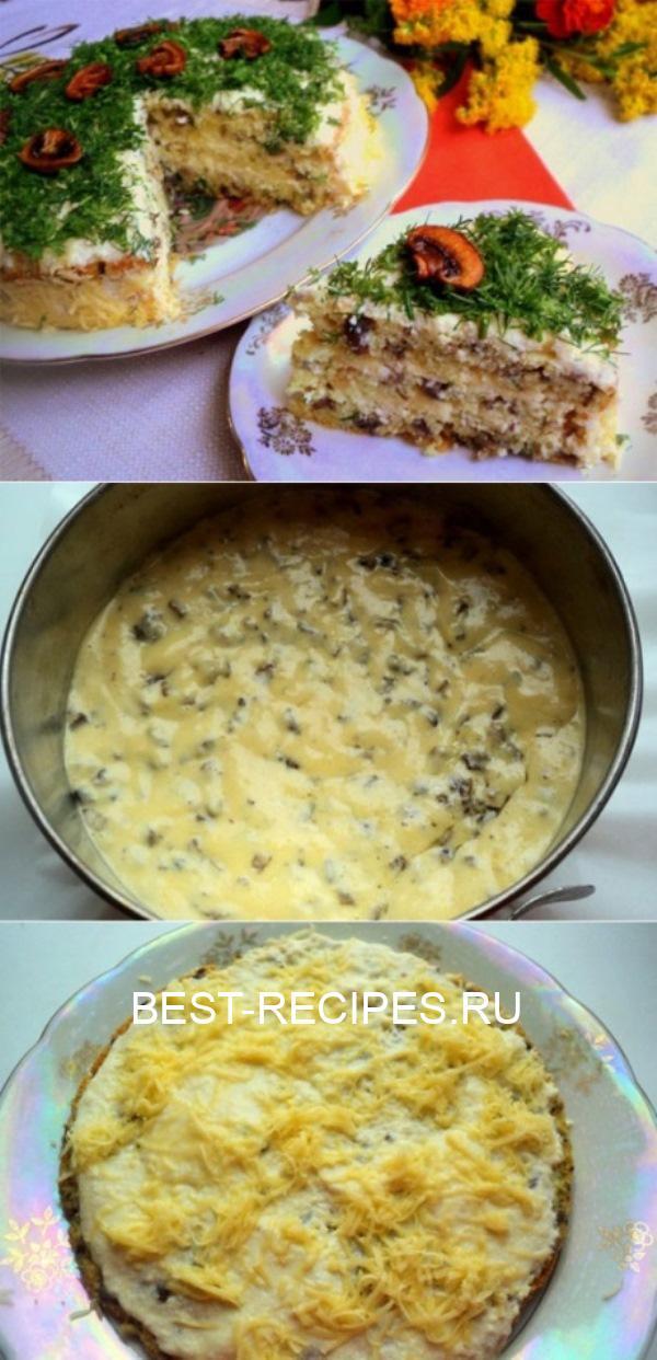Грибной бисквитный закусочный тортик – Бесподобный рецепт!
