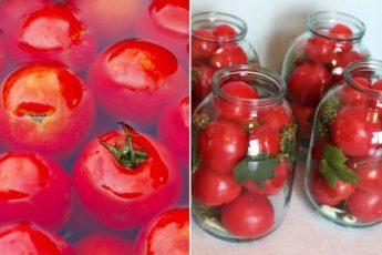 Самый лучший рецепт вкуснейших маринованных помидорчиков. Заливаем холодной водой 1