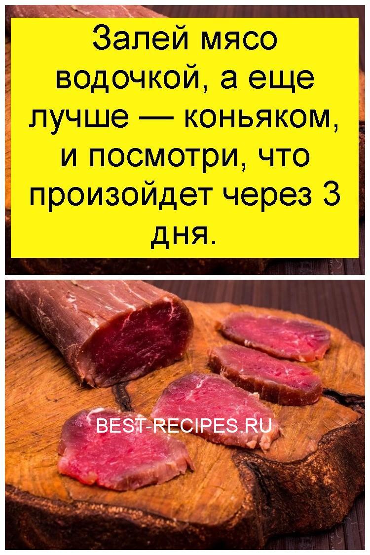 Залей мясо водочкой, а еще лучше — коньяком, и посмотри, что произойдет через 3 дня 4