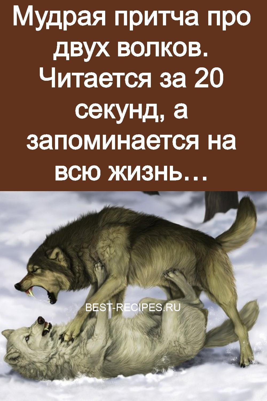 Мудрая притча про двух волков. Читается за 20 секунд, а запоминается на всю жизнь 3